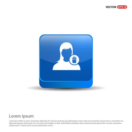 Delete user icon. - 3d Blue Button.