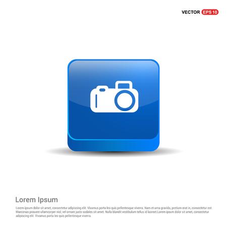 Photo camera icon - 3d Blue Button.