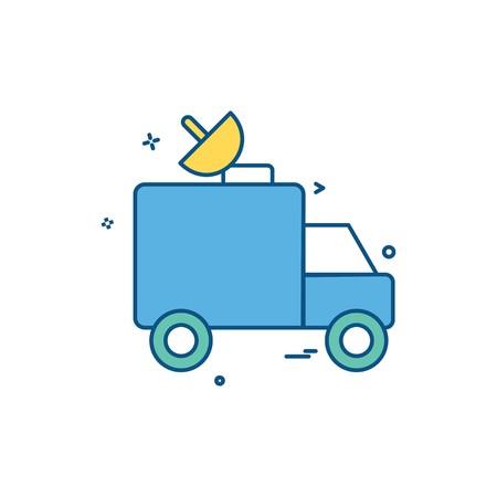 dish satellite car truck icon vector design Stock Illustratie