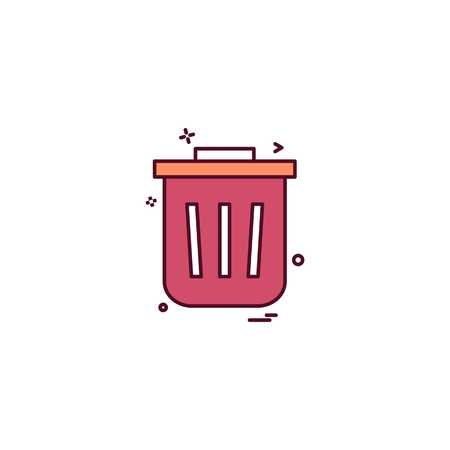 Dustbin icon design vector Illustration