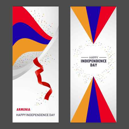 Armenia Happy independence day Confetti Celebration Background Vertical Banner set