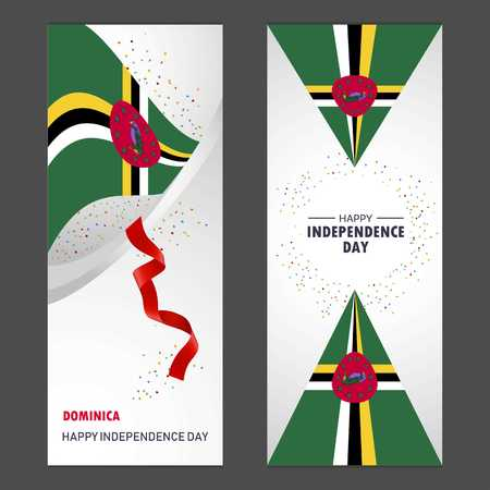 Dominica Happy independence day Confetti Celebration Background Vertical Banner set