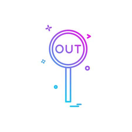 out decision umpire icon vector design Vettoriali
