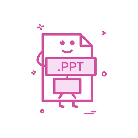 Computer ppt file format type icon vector design