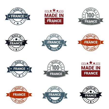 France stamp design set vector