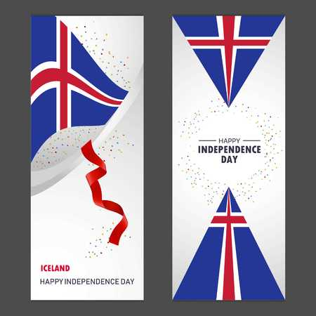 Iceland Happy independence day Confetti Celebration Background Vertical Banner set