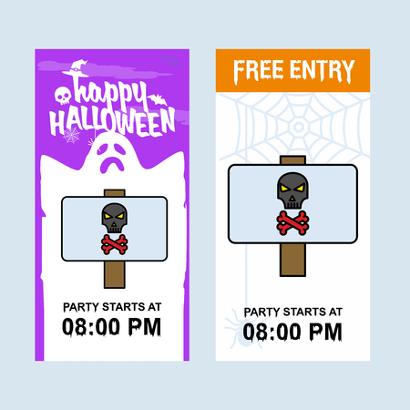 Happy Halloween invitation design with danger board vector Vettoriali