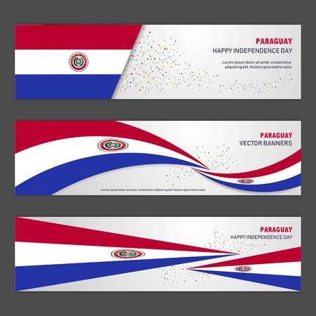 Paraguay independence day abstract background design banner and flyer, postcard, landscape, celebration vector illustration Illustration