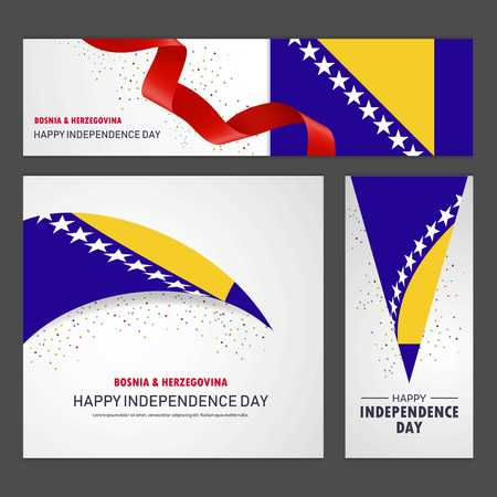 Happy Bosnia and Herzegovina independence day Banner and Background Set