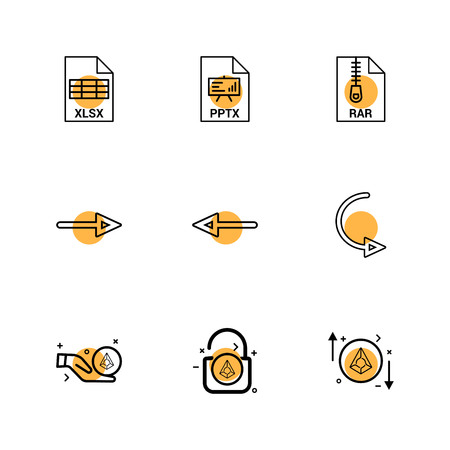 xlsx , excel  , pptx ,   rar , compressed file , left arrow , right arrow , reset , lock, unlock , diamond , icon, vector, design,  flat,  collection, style, creative,  icons