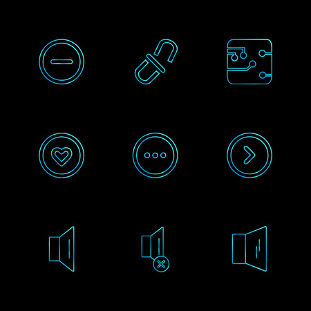 user interface , buttons , application , multimedia , speaker, sound , mute , clock , menu , paper pin , bin  , next , back , icon, vector, design,  flat,  collection, style, creative,  icons