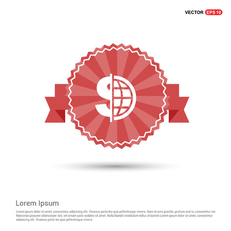 World Currency Icon - Red Ribbon banner Standard-Bild - 110011495