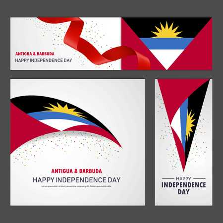 Happy Antigua and Barbuda independence day Banner and Background Set Illustration