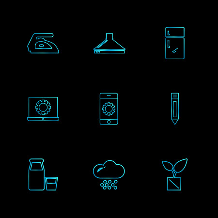 iron , fridge , laptop  , pencil  , hardware , tools ,labour , constructions , icon, vector, design,  flat,  collection, style, creative,  icons , electronics ,