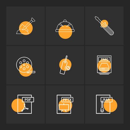 Spade , halmet , screw driver , movie roller, cricket , bat , ball , dmg apple file , rar , compressed file ,pdf , photoshop , pptx , excel , icon, vector, design, flat, collection, style, creative, icons Vector Illustration