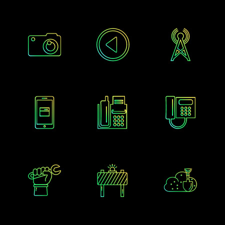 multimedia , user interface , camera , technology , play , pause , camcoder , video , click , capture , image , photography , photograph , icon, vector, design,  flat,  collection, style, creative,  icons Illustration