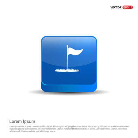 Golf Flag Icon - 3d Blue Button.