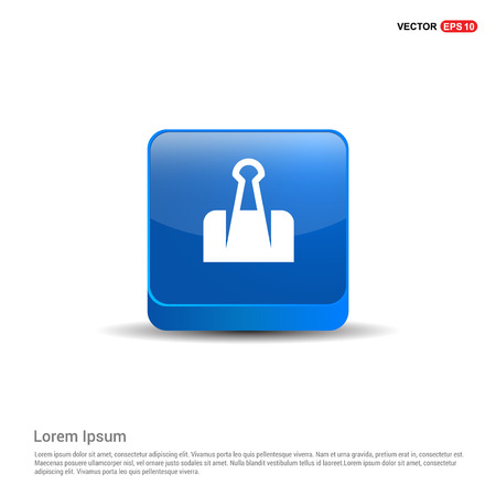 Paper Clip Icon - 3d Blue Button. Stock Vector - 118234557