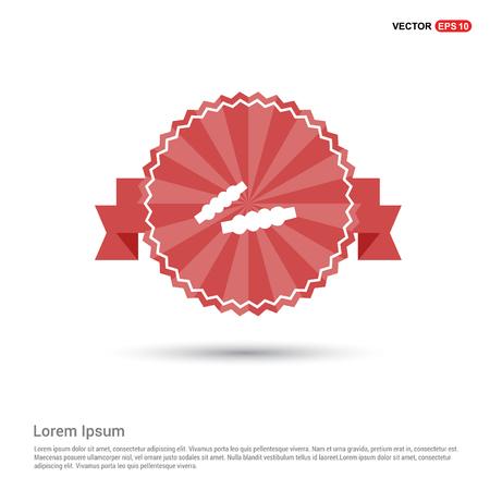 Cricket Bails Icon - Red Ribbon banner Illustration