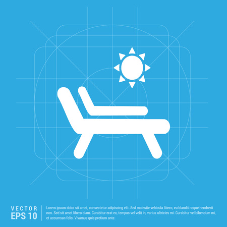Sun bathe on the chaise longue with umbrella Icon  イラスト・ベクター素材