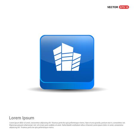 Buildings Icon - 3d Blue Button.