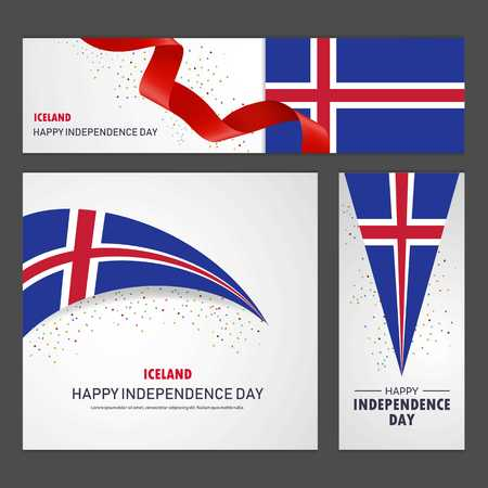 Happy Iceland independence day Banner and Background Set