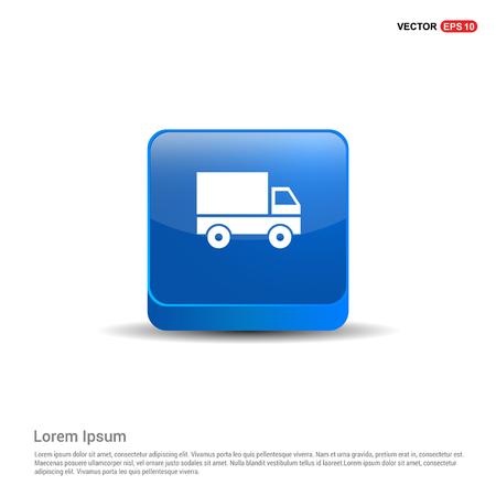 Truck icon - 3d Blue Button. Illustration