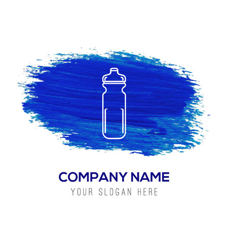 Cycling Water Bottle Icon - Blue watercolor background