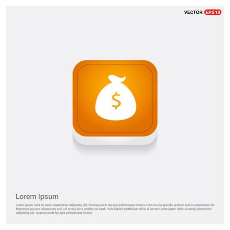 Money Bag Icon Orange Abstract Web Button - Free vector icon Vectores