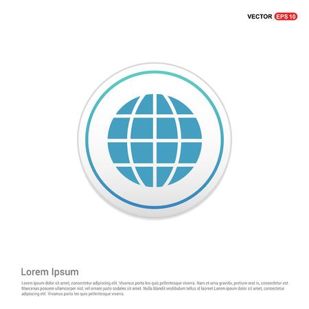 World globe icon - white circle button