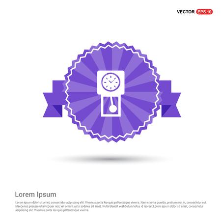 Clock Icon - Purple Ribbon banner Vectores