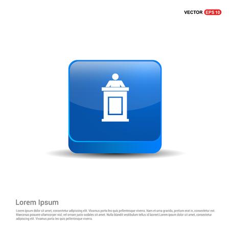 Speaker at rostrum icon - 3d Blue Button.