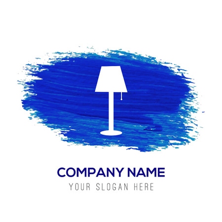 Table Lamp Icon - Blue watercolor background