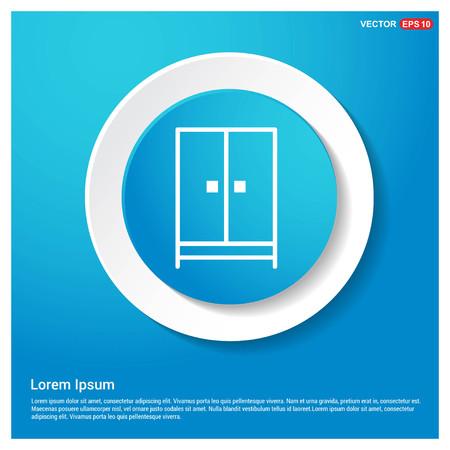 Cupboard wardrobe icon Abstract Blue Web Sticker Button - Free vector icon