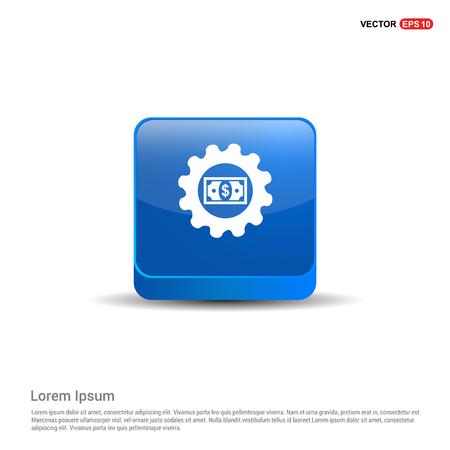 Dollar Gear Icon - 3d Blue Button.