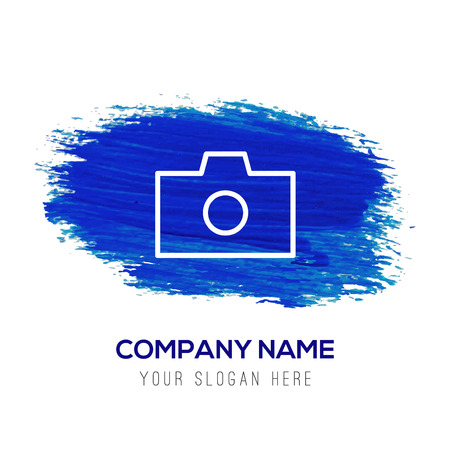 Photo camera icon - Blue watercolor background