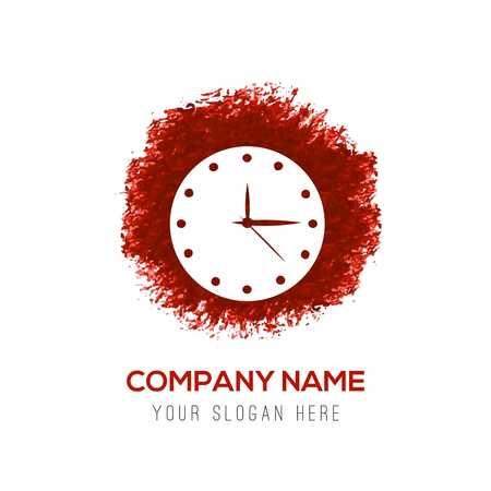 Clock Icon. Time icon - Red WaterColor Circle Splash