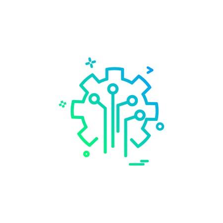 Diseño de vector de icono de inteligencia de circuito artificial