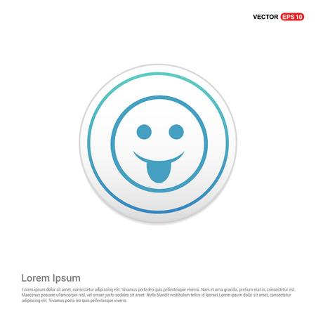 smiley icon, Face icon - white circle button 일러스트