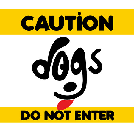 Beware of dogs typographic design vector with light background