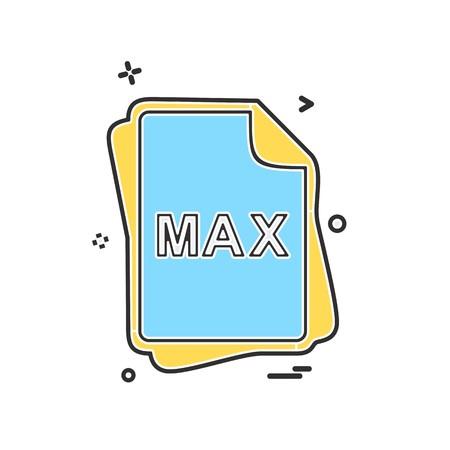 MAX file type icon design vector