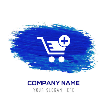 Shopping Cart and plus Sign - Blue watercolor background Ilustração