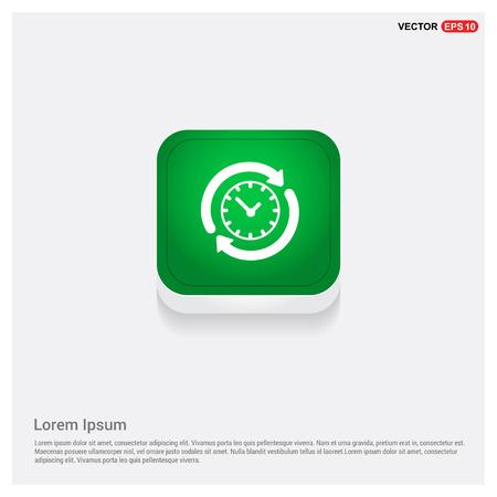 Clock IconGreen Web Button - Free vector icon