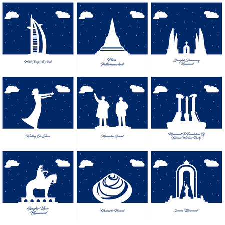 Worlds Famous monuments and landmarks icons set vector Vectores