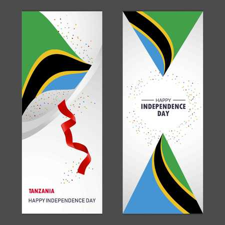 Tanzania Happy independence day Confetti Celebration Background Vertical Banner set