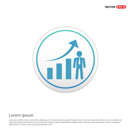 Business Man with Growing graph Icon - white circle button