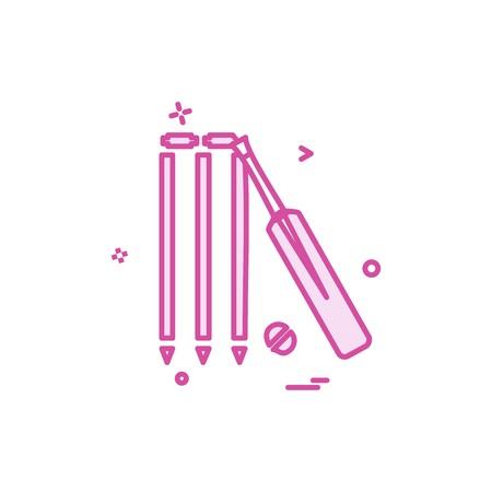 bat ball wicket cricket icon vector design