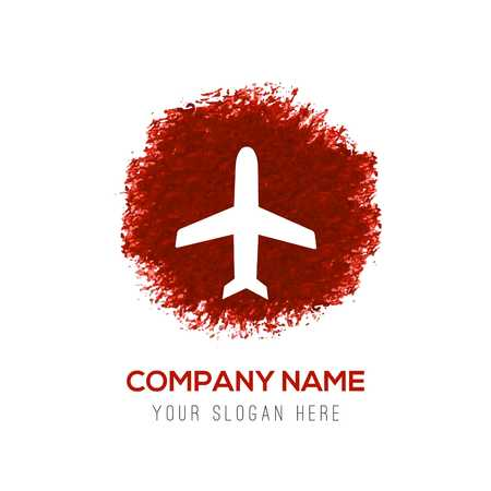 Airplane icon - Red WaterColor Circle Splash