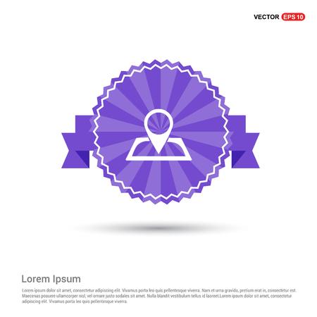 Pin on map icon - Purple Ribbon banner Illusztráció