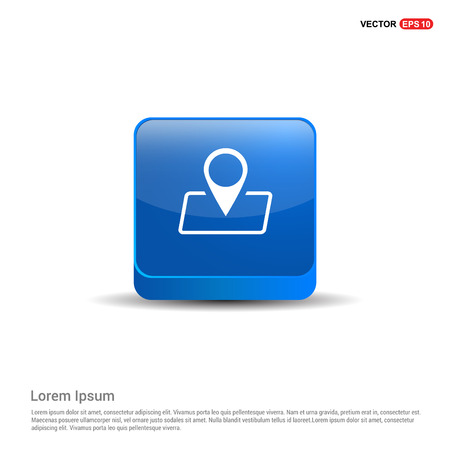 Pin on map icon - 3d Blue Button.